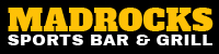 Shown here is small black and yellow logo of a Derby Kansas Bar & Grill | Madrocks Restaurant